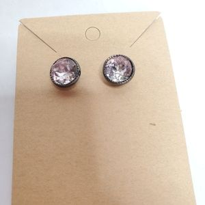 Women's Earrings Silver Toned Faux Gem Studs